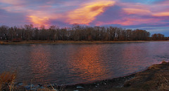 Sunset Clouds Over The Bow River (LostMyHeadache: Absolutely Free *) Tags: trees light sunset shadow sky nature water grass clouds canon reflections river evening twilight rocks dusk shore davidsmith calgaryalbertacanada eos60d