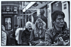 123 of 365 - Downbound Train (fearghal breathnach) Tags: people urban dublin night drunk train canon photography photo blackwhite photos candid streetphotography railway dart fearghalbreathnach traincarrriage httpswwwfacebookcomfergphotos