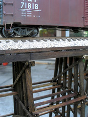 Ballasted deck detail (MW Train) Tags: trestle bridge detail miniature boxcar piling piles ballast modeltrains modelrailroading ballasted hotrains