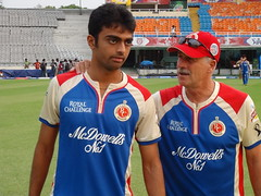 Jaydev Unadkat with head coach Ray Jennings