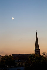 Early Moon (decibeljames) Tags: sunset moon church landscape