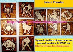 Signos do Zodaco em pirogravura (ammaneta) Tags: wood artwork arte drawing artesanato burning handicrafts madeira prendas quadros pirogravura pirografia pirography