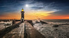 Changing of the guard (Pietro Faccioli) Tags: ocean blue winter light sunset shadow sea sky panorama orange sun lighthouse portugal water river evening pier timelapse rocks waves sundown horizon atlantic porto wharf douro sunburst farol foz pietro faccioli pietrofaccioli