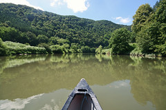 (felix.h) Tags: wood trees summer reflection nature water forest canon river landscape eos boat woods kayak wideangle kayaking lahn sigma1020mm sigma1020 400d canoneos400d digitalrebelxti eoskissdigitalx