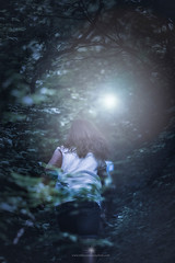 (Rebecca812) Tags: night forest flashlight lensflare running runningaway danger children girl trees outdoors scared scary story people rebecca812 canon canon5dmarkii