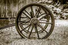 Can't put the cart before the horse... (Fallen Archer) Tags: fortlangley houstontrail canonef24105mmf4lisusm canoneos40d sepia cart spokes rusty barn history