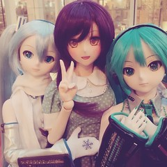 Cutie Girls, Nozomi with miku and snowmiku!!   #dollfie #dollfiedream #dolls #miku #anime #otaku #toy #dollstagram #toystagram #dolly #kawaii #cute #BJD #dollphotography #toyphotography #girls #vocaloid #lovelive (Dollymoe) Tags: instagramapp square squareformat iphoneography uploaded:by=instagram reyes