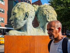 Photobomb in Union Square (deepaqua) Tags: statue unionsquare photobomb nyc