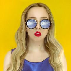 Yellow (LornaKatyJoy) Tags: portrait d610 50mm girl sunglasses clouds lornakatyjoy lornaquinn colour simple selfportrait selfportraiture yellow