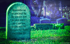 Remember Me (Linda Sue Kocsis) Tags: graveyard tomb tombstone stone vintage halloween haunt haunted epitaph dual tone duotone color colorful dark noir gothic goth photograph photo landscape marble carve carving green blue purple fog mist moonlight moon moonlit spooky scary eerie victorian