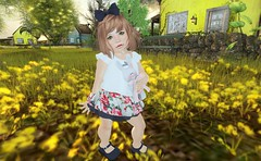 Outfit # 06 (Roccatetta ) Tags: sl secondlife avatar virtual game outfit kid girl dress bunny flowers yellow cute