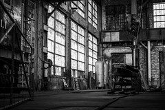 The windows in the back corner (Mike Wood Photography) Tags: industrial building interior shopspace shop windows glass dirty gritty blackandwhite blackwhite bnw arr allrightsreserved mikewoodphotography