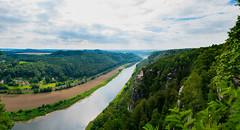 Saxon Switzerland (bloodwithmilk) Tags: red landscape germany water river green sky clouds boats nature blue summer nikon d800 tokina