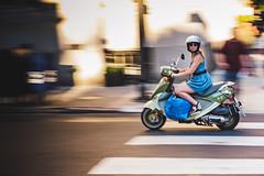 Owl Rider (c. Melon Images) Tags: 23mm city fuji x100s philadelphia philly street urban panning motion girl woman vespa