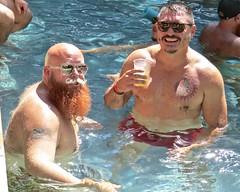IMG_7832 (danimaniacs) Tags: swimmingpool party shirtless hot sexy man bear beard scruff smile bald hairy tattoo swimsuit trunks