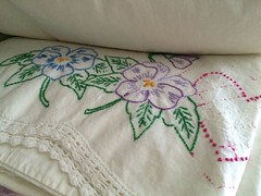 Vintage embroidered pillowcases (eg2006) Tags: crocheted vintagelinen hearts pansies vintageembroidery embroidered pillowcase vintagepillowcase