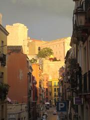 Castello in the sun & heavy clouds above.... (Carneddau) Tags: cagliari italy piazzayenne sardinia torredellelefante viadomenicoalbertoazuni bastion sardegna