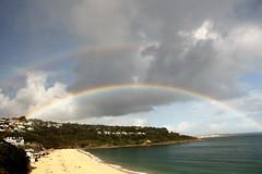 Rainbows Over Carbis Bay! (RiverCrouchWalker) Tags: rainbow rainbows carbisbay stives cornwall coastpath southwestway beach sea clouds