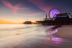 Santa Monica Pier (Byron O'Neal) Tags: california southerncalifornia santa monica ferris wheel los angeles pier water reflection surf ocean sand beach sky sunset socal route 66