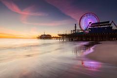 Santa Monica Pier (Byron O'Neal) Tags: california southerncalifornia santa monica ferris wheel los angeles pier water reflection surf ocean sand beach sky sunset socal route 66