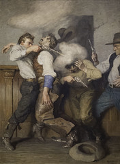 Gunfight (mark6mauno) Tags: art museum painting nc paint denverartmuseum denver canvas oil wyeth gunfight