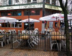 van13d11 The Cambie Patio, Vancouver BC (CanadaGood) Tags: orange canada color colour building tree green sign vancouver umbrella restaurant pub downtown bc britishcolumbia streetphoto gastown 2013 canadagood thisdecade