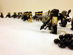 Looking end-on (jskaare) Tags: soldier lego military camouflage minifig custom pmc minfigure