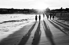 afternoon on Bondi Beach (marin.tomic) Tags: ocean city travel light sunset shadow summer people urban blackandwhite bw sun beach water monochrome bondi backlight sand nikon waves afternoon oz sydney australia explore nsw newsouthwales australien bondibeach downunder d90 explored