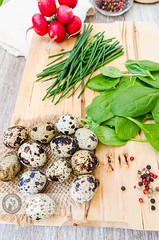 Quail Eggs Paste Ingredients (Cristian Sabau | Photography) Tags: wood food vertical photography leaf raw rustic nopeople indoors slice snack romania half buffet transylvania foodanddrink chive quail healthyeating boiledeggs quailegg colorimage highangleview animalegg