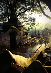A Spiritual Place - EXPLORED ( Jamie Mitchell) Tags: trees nepal light boy sunset wet rain silhouette stairs river religious temple moss asia child spirit religion steps explore nepalese spiritual shiva hindu hinduism himalayas damp nepali pashupatinath explored bagmati
