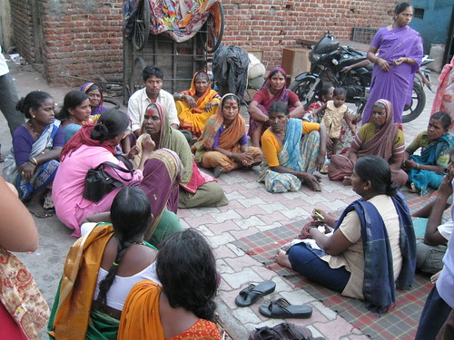 Self Help group of women meets in the slums of Pune.  Photo by Amit Kapadia.