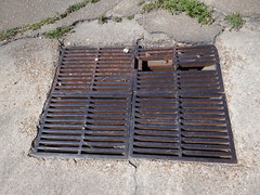 DSC03218 (bicyclehazard) Tags: storm broken grate iron drain cast arkansas brittle brinkley