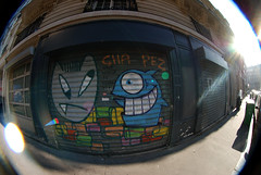 Cha Pez (lepublicnme) Tags: sun streetart paris france pez graffiti fisheye shutter flare april chanoir peleng 2013