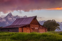Thomas Moulton Barn - explore # 1 (Marvin Bredel) Tags: red sky clouds barn sunrise wooden nationalpark explore historical wyoming grandtetons popular jacksonhole moulton number1 oldwest grandtetonnationalpark usnationalpark explore1 moultonbarn muchphotographed mormanrow marvinbredel thomasmoulton