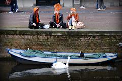 Zwaan kijkt aan - Curious swan (Amsterdam RAIL) Tags: girls swan meiden stadt singel meisjes stad gracht koninginnedag zwaan inhuldiging troonswisseling