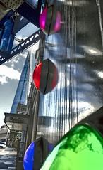 The Shard from Southwark Street (DncnH) Tags: bridge blue red green london lights railway shard southwark se1 southwarkstreet theshard