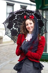 IMG_3151 (Neil Keogh Photography) Tags: red woman white black dress victorian blouse gloves parasol buskers whitby rockband trianglesquare whitbygothweekend manchestercitycenter