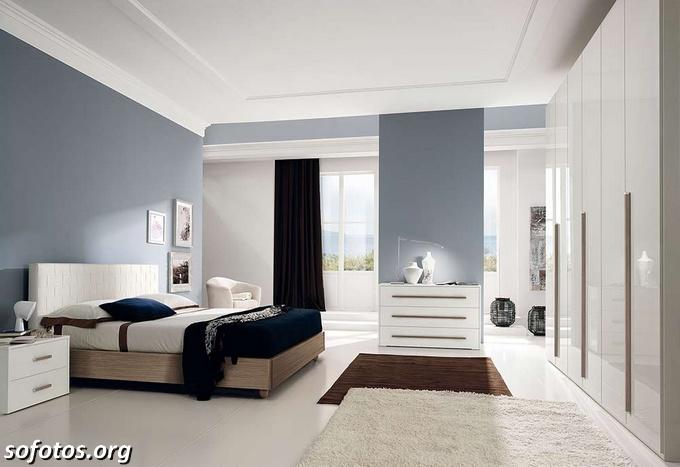 quarto de casal moderno azul