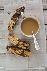 Chocolate Chunk and Almond Biscotti (Nico Francisco) Tags: morning food coffee breakfast baking chocolate nuts almond stains chunk biscotti
