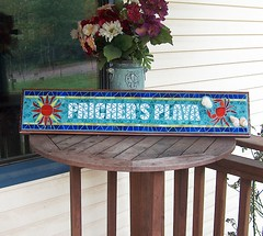 PRICHER'S PLAYA (beaded glass) Tags: beach sign plaque outdoor mosaic mosaicsign