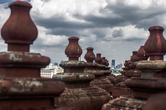 Walk the Line (Gregory Desimone) Tags: sky architecture clouds 35mm canon thailand temple rebel bangkok repetition t1i