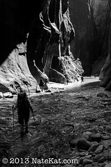 Zion Backpackers (NateKat Photography) Tags: blackandwhite river utah backpacking zionnationalpark redrock narrows rockwalls slotcanyon virginriver canon7d