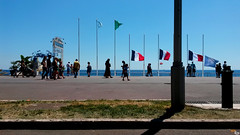 Pour Nice / For Nissa ... (Diaph'2.8) Tags: shadow france silhouette french nice flag july souvenir national remembrance berne drapeau 14juillet halfmast nissa promenadedesanglais