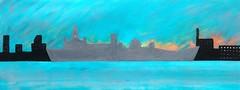 Ss Liverpool (Neil Gaffney) Tags: beatles seefront skyline ss turquoise art painting mersey ferry battleship ship liverpool wigan neilgaffney