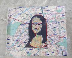 Pasted paper by Omaj [Paris 3e] (biphop) Tags: europe france paris streetart pasted paper pasteup collage wheatpaste wheatpaper omaj monalisa mona lisa plan metro