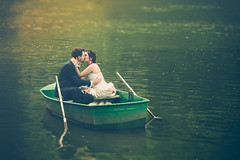 Wedding in a little boat (FlorianHamoline) Tags: boat little water lovers kiss wedding mariage maris amoureux barque wgimont reflect reflet eaux green