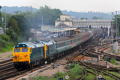 50007 & 50050, Eastleigh, June 11th 2016 (Suburban_Jogger) Tags: 50050 50007 d401 d407 fearless hercules class50 englishelectric chartertrain eastleigh hampshire canon 60d 70200mm june 2016 summer train railway station railroad swanage derby