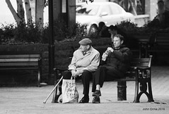 Chesterfield Summer 2016 (Blinkles) Tags: chesterfield crookedspire blackandwhite film streetphotography church eating gargoyle signs trees market buskers pubs people faces benches summer hats