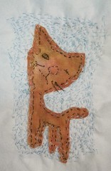 Kathy Beynette: One-eyed Cat (julieboothclasses) Tags: kathybeynette totellastorywithcloth storycloth handstitching handapplique handpainting