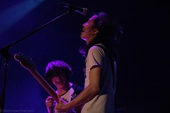 Moses (redrospective) Tags: 2016 20160908 islingtonacademyhall london moses september2016 blue closeup concert electricguitar gig guitar guitarist hair instruments laughing live music musicians people perspective smiling spotlights white